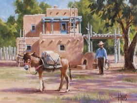 """Market Day - New Mexico 11"""" x 14"""" oil painting by Tom Haas"""