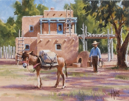 "Market Day - New Mexico 11"" x 14"" oil painting by Tom Haas"