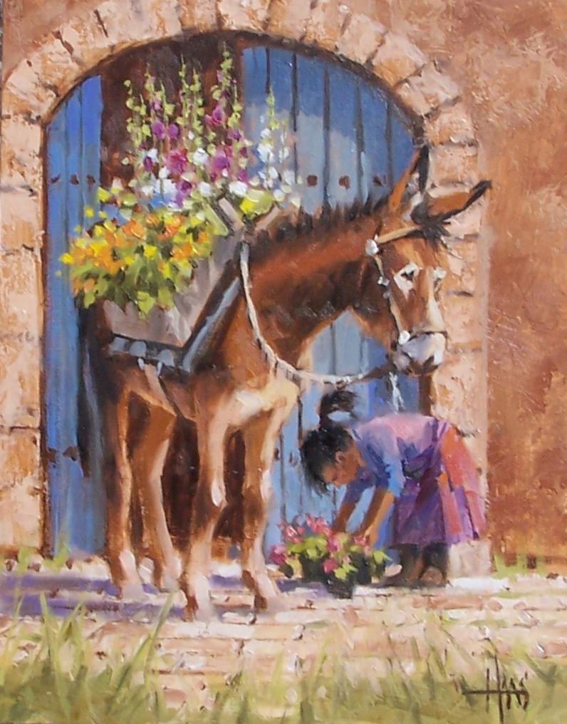 "Santa Fe Florista 14"" x 11"" oil painting by Tom Haas"
