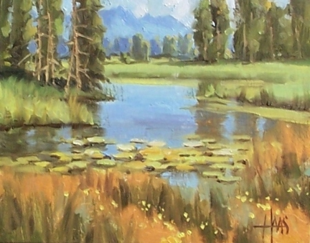 "Teton Beaver Pond - Wyoming 8"" x 10"" oil painting by Tom Haas"