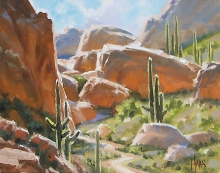 """The Pass - Arizona 11"""" x 14"""" oil painting by Tom Haas"""