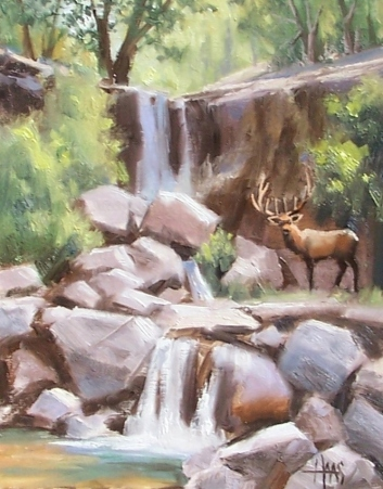 "Winding Waterfall 14"" x 11"" oil painting by Tom Haas"