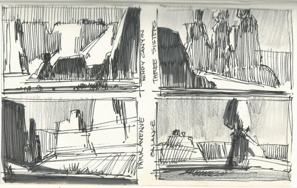 Arches Natl Park ink graphite sketches by Tom Haas