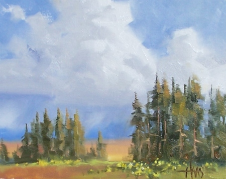 "Billowing Clouds - Colorado Plateau, Arizona 8"" x 10"" oil painting by Tom Haas"