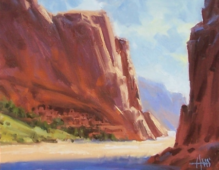 """Canyon Dwellers - Canyon de Chelly, Arizona 11"""" x 14"""" oil painting by Tom Haas"""