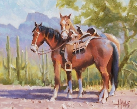"Ranch Romance - Arizona 8"" x 10"" oil painting by Tom Haas"