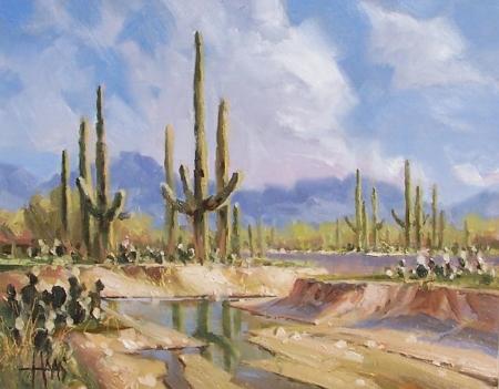 """Renewal - Sonoran Desert monsoon season 11"""" x 14"""" oil painting by Tom Haas"""