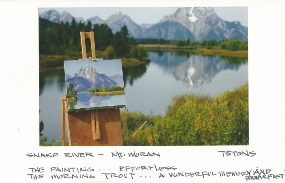 Snake River below Mount Moran plein air oil painting and photo by Tom Haas