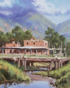 """Taos Mountain Pueblo - New Mexico 10"""" x 8"""" oil painting by Tom Haas"""