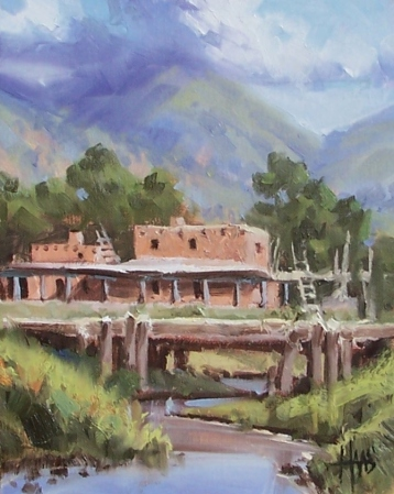 "Taos Mountain Pueblo - New Mexico 10"" x 8"" oil painting by Tom Haas"