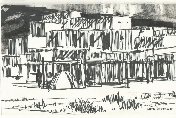Taos New Mexico ink sketch by Tom Haas