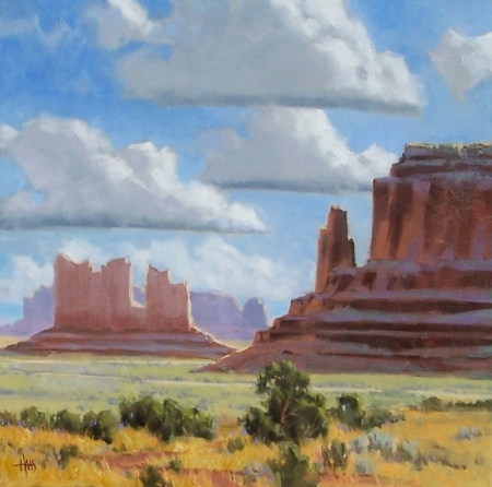 "Valley Monuments - Monument Valley, Arizona-Utah border 30"" x 20"" oil painting by Tom Haas"