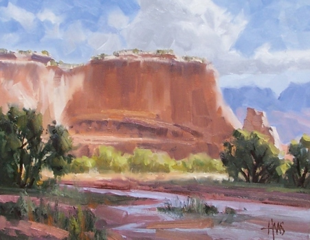 """Land of Dineh - Canyon de Chelly 11"""" x 14"""" oil painting by Tom Haas"""