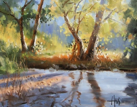 "Morning Rays 11"" x 14"" oil painting by Tom Haas"