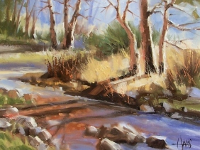"Slow Creek 11"" x 14"" oil painting by Tom Haas"