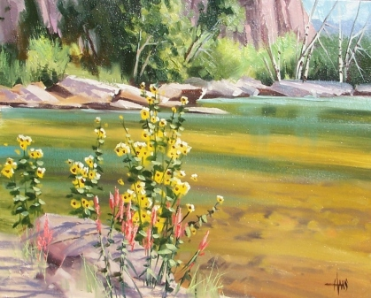 """A Bit of Color - Oak Creek, Sedona 16"""" x 20"""" oil painting by Tom Haas"""