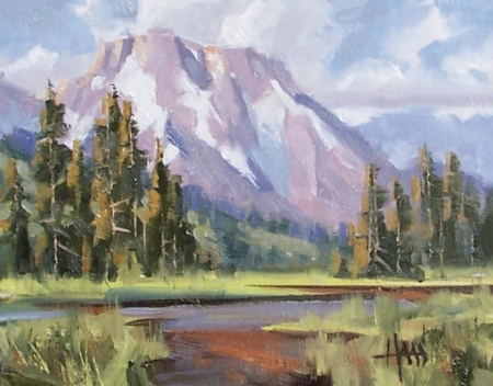 "Glacier Stream - Mount Moran 8"" x 10"" oil painting by Tom Haas"