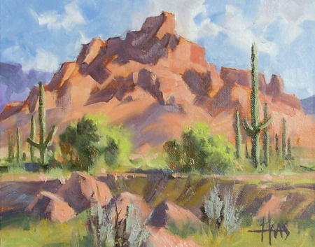 "Red Mountain- Arizona 8"" x 10"" oil painting by Tom Haas"