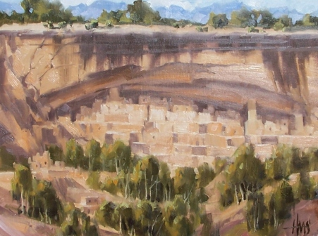 """Cliff Palace - Mesa Verde Colorado 12"""" x 16"""" oil painting by Tom Haas"""