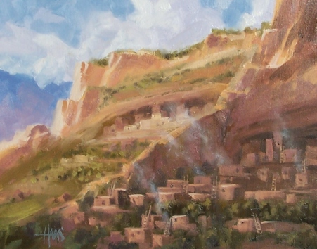 """Terraced Canyon - Mesa Verde Colorado 11"""" x 14"""" oil painting by Tom Haas"""