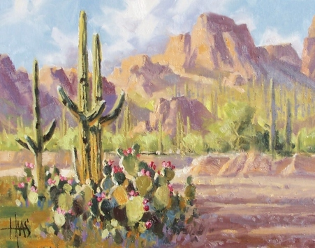 "Prickly Pear Crossing - Arizona 11"" x 14"" oil painting by Tom Haas"