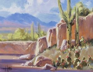 "Javalina Wash - Arizona 11"" x 14"" oil painting by Tom Haas"
