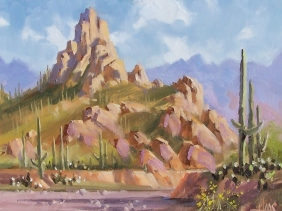 "Landmark - Pinnacle Peak, Arizona 11"" x 14"" oil painting by Tom Haas"