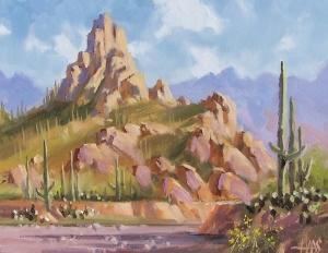 """Landmark - Pinnacle Peak, Arizona 11"""" x 14"""" oil painting by Tom Haas"""