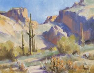 "Saguaro Canyon - Arizona 11"" x 14"" oil painting by Tom Haas"