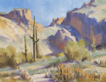 "Saguaro Canyon - Arizona 11"" x 14"" oil painting by Tom Haas"