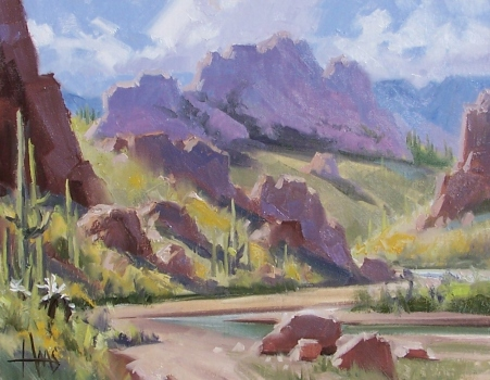 "Spring Greens - Arizona 11"" x 14"" oil painting by Tom Haas"