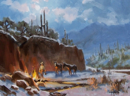 "Canyon Camp - Arizona 12"" x 16"" oil painting by Tom Haas"