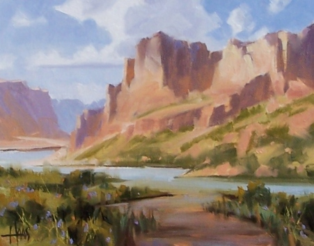 "Morning Light - Lees Ferry Grand Canyon 11"" x 14"" oil painting by Tom Haas"