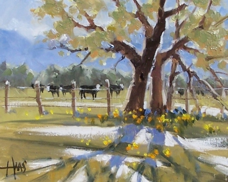 "Pasture Fence Line - Prescott, Arizona 8"" x 10"" oil painting by Tom Haas"