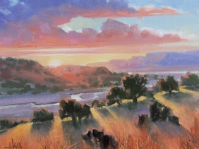 """River Valley - New Mexico 11"""" x 14"""" oil painting by Tom Haas"""