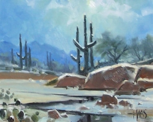 """Sonoran Night 8"""" x 10"""" oil painting by Tom Haas"""