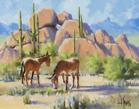 "Two's Company - Arizona 11"" x 14"" oil painting by Tom Haas"