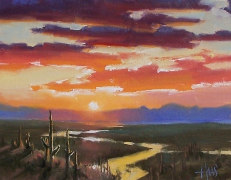 "Desert Serenity - Arizona 11"" x 14"" oil painting by Tom Haas"