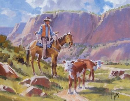 "Mooo-ve Along - Arizona 11"" x 14"" oil painting by Tom Haas"