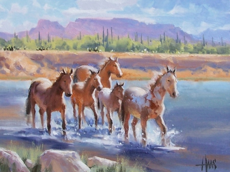 "Superstition Herd - Arizona 12"" x 16"" oil painting by Tom Haas"