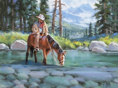 "Takin' Five - Colorado 12"" x 16"" oil painting by Tom Haas"
