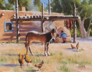 """Taos Courtyard - New Mexico 11"""" x 14"""" oil painting by Tom Haas"""