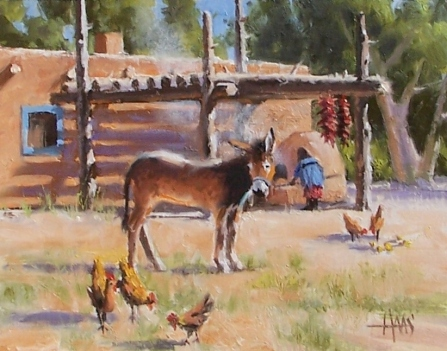 "Taos Courtyard - New Mexico 11"" x 14"" oil painting by Tom Haas"