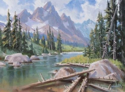 """Teton Springtime - Wyoming 12"""" x 16"""" oil painting by Tom Haas"""