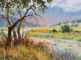 "Weeds and Wildflowers - Arizona 11"" x 14"" oil painting by Tom Haas"