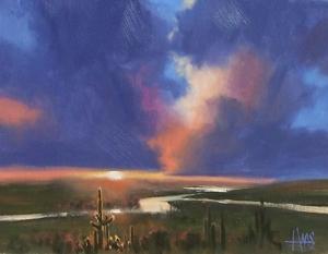 "Evening Drama - Arizona 11"" x 14"" oil painting by Tom Haas"