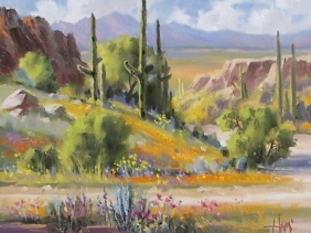 "Just Add Water - Arizona 11"" x 14"" oil painting by Tom Haas"