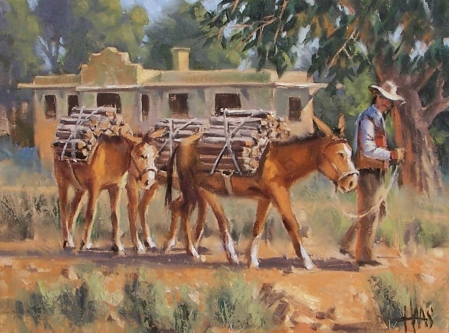 """Santa Fe Deliveries 12"""" x 16"""" oil painting by Tom Haas"""