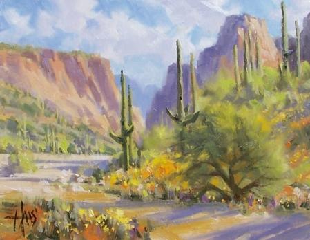 "Seed Flowers - Arizona 11"" x 14"" oil painting by Tom Haas"