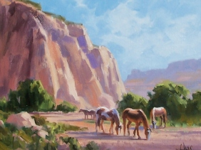 "Red Butte Mares - Arizona Utah border 11"" x 14"" oil painting by Tom Haas"